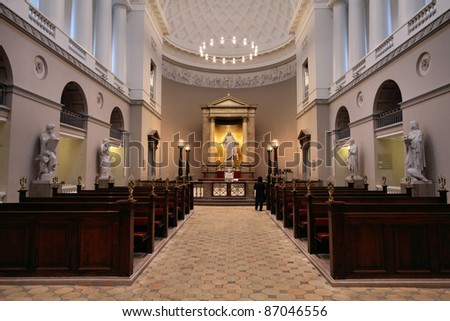 Church of Our Lady - Copenhagen's cathedral. Copenhagen Old Town - capital city of Denmark. - stock photo
