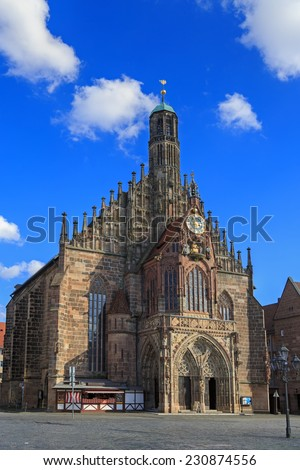 Church of Our Lady (Frauenkirche), blue sky with clouds in Nuremberg, Germny  - stock photo