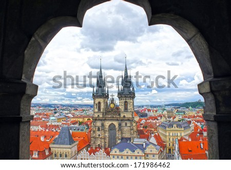 Church of our Lady - Tyn Church in old town of Prague, Czech Republic. View from the tower of the astronomical clock - stock photo