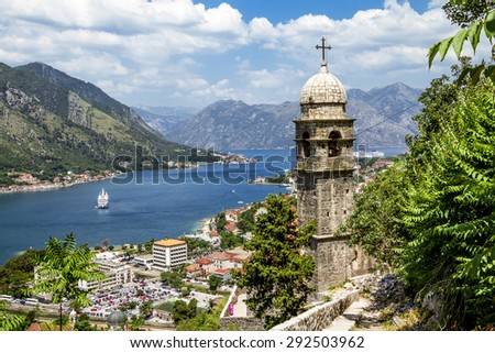 church of Our Leady of Remedy in Kotor.Montenegro.View from the ramparts of the bay and the old town - stock photo