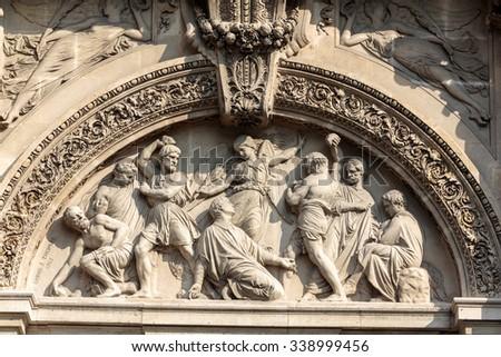 Church of Saint-Etienne-du-Mont in Paris near Pantheon. It contains shrine of St. Genevieve - patron saint of Paris - stock photo