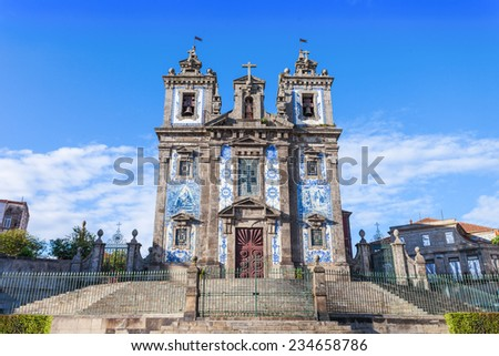 Church of Saint Ildefonso (Igreja de Santo Ildefonso) is an eighteenth-century church in Porto, Portugal - stock photo