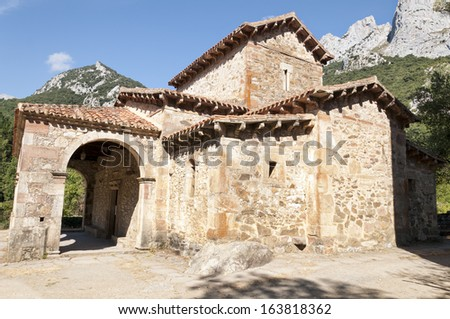 Church of Saint Mary is located Cantabria, Spain). It is one of the most remarkable testimony of Pre-Romanesque  art. It was declared a National Monument on March 27, 1893. - stock photo