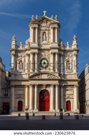 Church of Saint-Paul-Saint-Louis,  Marais (4th arrondissement), Paris, France. A 17th century church showcasing Italian, French gothic and Dutch architecture - Corinthian and Composite orders.