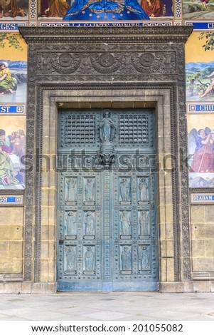 Church of Saint-Vincent-de-Paul (Eglise Saint-Vincent de Paul, design Jean-Baptiste Lepere, was built during 1824 - 1844) dedicated to Saint Vincent de Paul. Entrance door. Paris, France. - stock photo