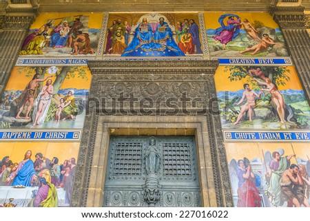 Church of Saint-Vincent-de-Paul (Eglise Saint-Vincent de Paul, design Jean-Baptiste Lepere, was built during 1824 - 1844) dedicated to Saint Vincent de Paul. Paris, France. - stock photo