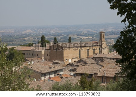 Church of San Agustin and countryside in San Gimignano, Italy