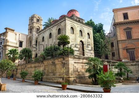 Church of San Cataldo and belltower of church Martorana , Palermo. Sicily. - stock photo