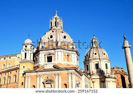 Church of Santa Maria di Loreto foro traiano, Rome, Italy. - stock photo