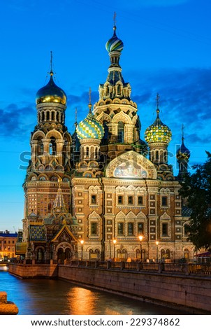 Church of Savior on Spilled Blood (Cathedral of the Resurrection of Christ), St Petersburg, Russia. It is an architectural landmark of central city, and a unique monument to Alexander II the Liberator - stock photo