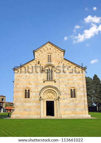 Church of Serbian Orthodox monastery Decani. Kosovo, World Heritage Site by UNESCO - stock photo