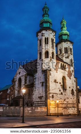 Church of St. Andrew in Old Town district of Krakow, Poland located at ul. Grodzka 54, is Romanesque church built between 1079 - 1098 by medieval Polish statesman Palatine Sieciech. - stock photo