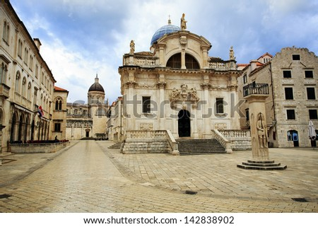 Church of St Blaise in Dubrovnik at dawn - stock photo