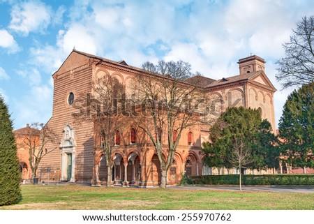 Church of St Cristopher (italian: San Cristoforo alla Certosa), the Certosa of Ferrara, Italy, ancient catholic place of worship  - stock photo