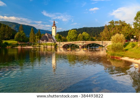 Church of St John the Baptist, Bohinj Lake, Slovenia - stock photo