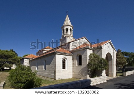Church of St. John the Baptist was built on the site of an early Christian basilica from the fifth century. - stock photo