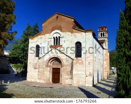 Church of St. Laurence in Trento, old Catholic church of the twelfth century churches - stock photo