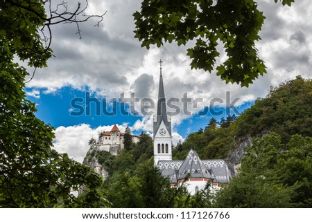 Church of St. Martin and Bled Castle, Bled, Slovenia.