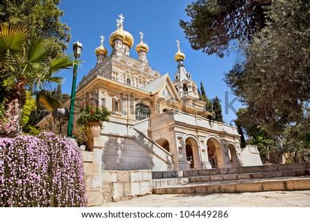 Church of St. Mary Magdalene at Olives Mount of Jerusalem, Israel - stock photo
