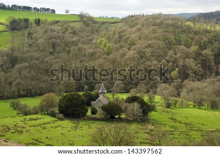 Church of St. Michael, Viewed from Cefnllys Castle, Llandrindod Wells, Powys, Wales - stock photo