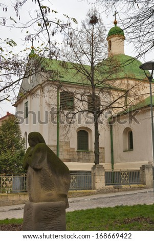 Church of St. Nicholas in Lviv, Ukraine. Built in second half of the XIII century. - stock photo