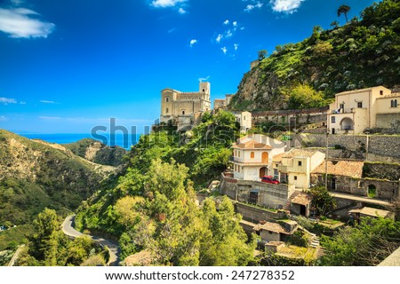 Church of St. Nicolo stands on the hill. This is Savoca, small village near Taormina on the east side of Sicily, Italy - stock photo