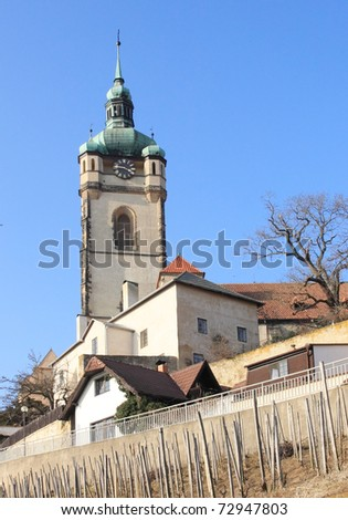 Church of St. Peter and Paul in Melnik above the vineyards in early spring, Czech Republic - stock photo