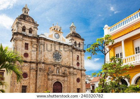 Church of St Peter Claver in Cartagena, Colombia - stock photo