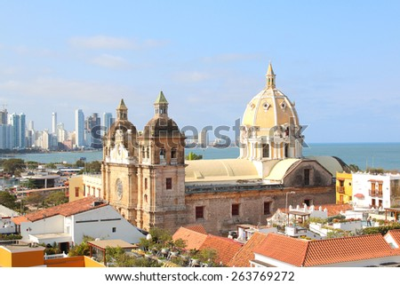 Church of St Peter Claver in Cartagena, Colombia. Historic city center and boca grande