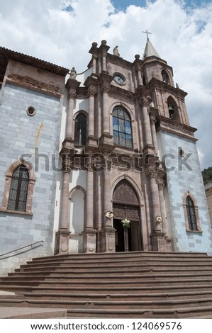 Church of St. Simon Abbot in Angangueo (Mexico) - stock photo