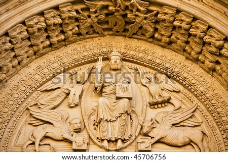 Church of St. Trophime facade Decoration Details in Arles, Provence, France - stock photo