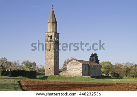 Church of Sterna in the north central Istria - stock photo