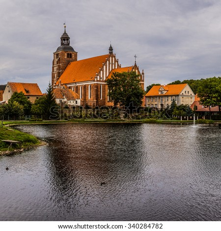 Church of Sts. Anna located in the Old Town near Pisa Warminska river in Barczewo, Olsztyn County, Warmian-Masurian Voivodeship, Poland. - stock photo