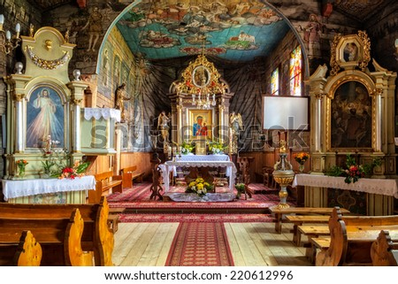 Church of Sts. John the Apostle and Evangelist at Harena in Zakopane, Poland. - stock photo