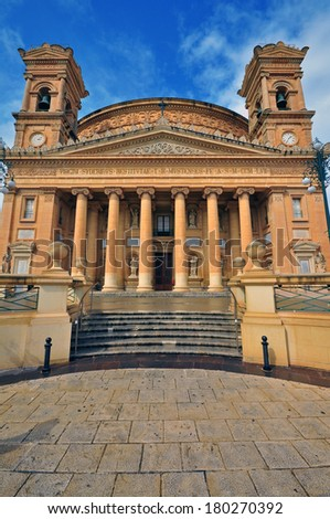 Church of the Assumption of Our Lady, Rotunda of Mosta, Malta. - stock photo