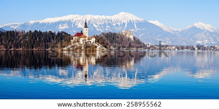 Church of the Assumption on Lake Bled. Bled, Slovenia - stock photo