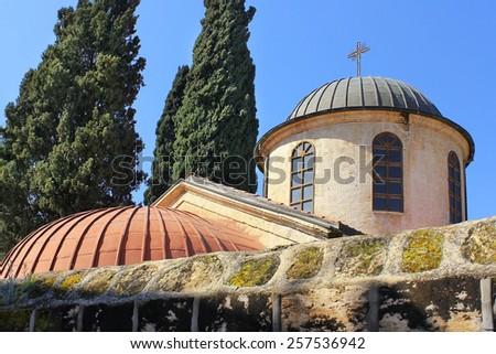 church of the first miracle (wedding church), Kafr Kanna, neighborhood of Nazareth, Israel - stock photo