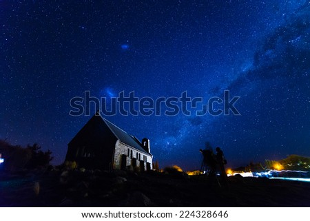 Church of the Good Shepherd under milky way, Lake Tekapo, New Zealand - stock photo