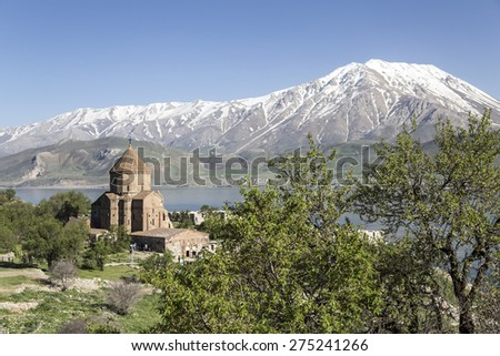 Church of the Holy Cross is a ruined Armenian cathedral in Eastern Anatolia, Turkey - stock photo