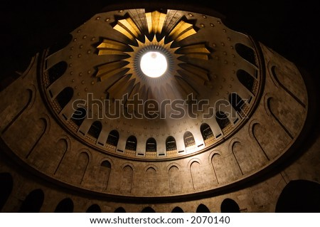 Church of the holy sepulcher, Jerusalem, Israel - where the New Testament describes that Jesus was crucified and buried. - stock photo