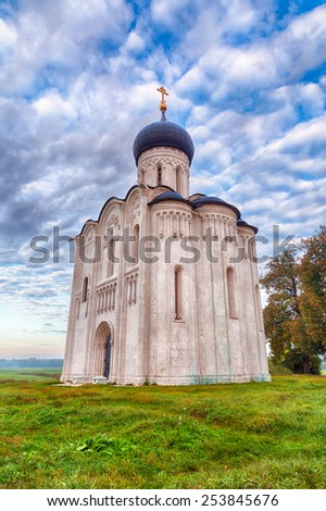 Church of the Intercession on the Nerl. Built in 12th century. Bogolyubovo, Vladimir region, Golden Ring of Russia - stock photo