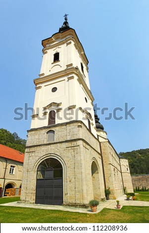 Church of the Jazak Monastery (Serbian: Manastir Jazak), Serb Orthodox monastery on the Fruska  Gora mountain in the northern Serbia, in the province of Vojvodina. The monastery was founded in 1736. - stock photo