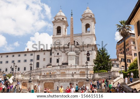 Church of the Santissima Trinit���  dei Monti is a late Renaissance titular church in Rome, central Italy. - stock photo