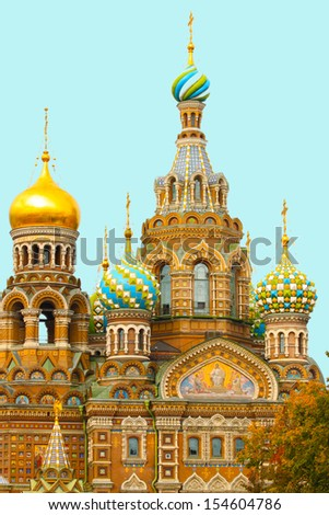 Church of the Savior on Blood in St. Petersburg-Orthodox memorial temple erected to the memory of what this place on March 1, 1881 as a result of attempt was mortally wounded Emperor Alexander II - stock photo