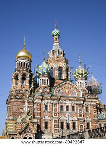 Church of the Savior on Blood - very famous landmark in Saint Petersburg, Russia, Europe - stock photo