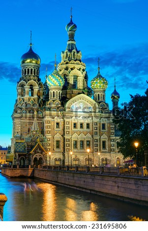 Church of the Savior on Spilled Blood (Cathedral of the Resurrection of Christ) at White Night in St. Petersburg, Russia. It is a landmark of city, and a unique monument to Alexander II the Liberator. - stock photo
