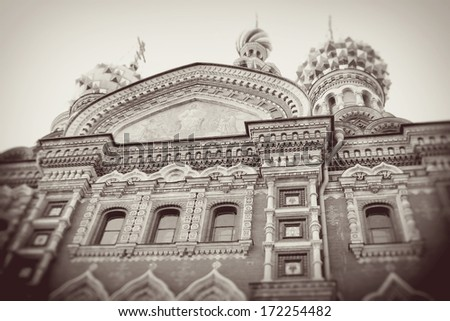 Church of the Savior on Spilled blood famous by its mosaics. Historical city center of Saint-Petersburg, Russia. UNESCO World Heritage Site. - stock photo