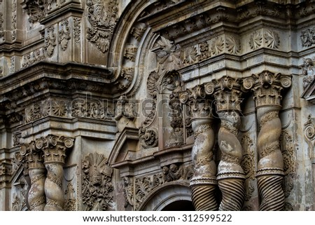 Church of the Society of Jesus, La Compania in Quito, Ecuador. Exterior facade detail - stock photo