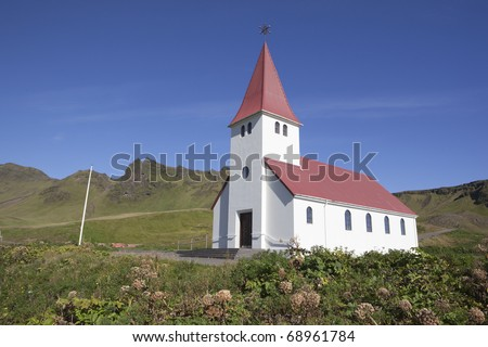 Church of Vik Iceland - stock photo