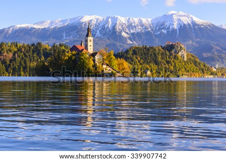 Church on Island in Lake Bled, Slovenia - stock photo